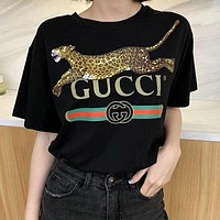Gucci Hot letters print T-shirt top-24