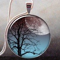 Moonrise Tree art pendant charm, tree jewelry pendant, moon jewelry