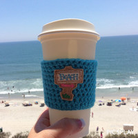 Beach Coffee Cozy, Crochet Cozy, Coffee Gifts, Starbucks Coffee Cozy, Coffee Cozy, TOGO Cup Cozy, Disposable Cup Cozy
