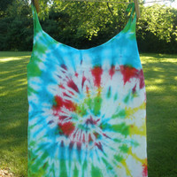 Upcycled Rainbow Swirl Tie Dye Loose Fit Tank Top Ocean Blue Lime Green Hot Pink Surfer Hippie