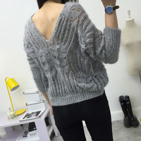 Hollow Out Knit Tops V-neck Batwing Sleeve Sexy Backless Sweater [9176491524]