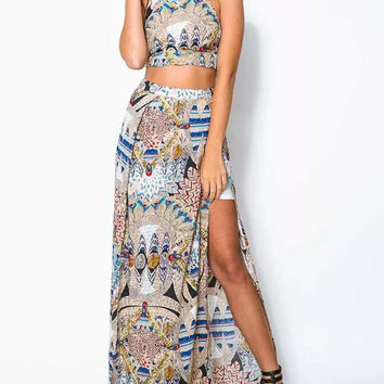 Multi Strappy Backlesss Crop Top And Split Maxi Skirt