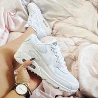 NIKE AIR MAX 90 Trending Women Men Personality Sport Running Shoe Sneakers Pure White