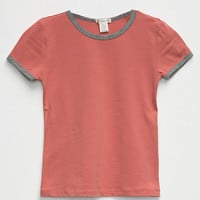 BOZZOLO Solid Girls Ringer Tee | Knit Tops + Tees