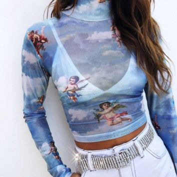 New hot - selling mesh print sexy high - collar long - sleeve T-shirt