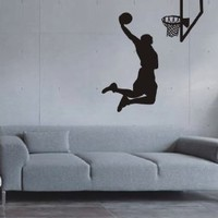 Large--Easy instant decoration wall sticker wall mural Sport Basketball-Basketball shoot 22inchby39inch