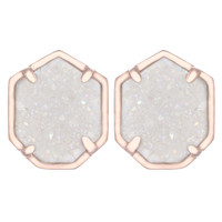 Kendra Scott Taylor Stud Earrings - Rose Iridescent Drusy