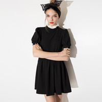 Black Puff Sleeve Ruff Collar Mini dress with Pleated Skirt