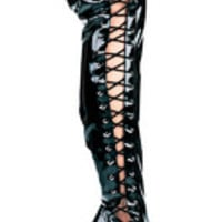 "Women's 5"" Heel Thigh High Stretch Boot W/Side Laces"