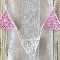 Pink and White Triangle Garland, Pink Crochet Garland, White Crochet Garland, Triangle Crochet Garland