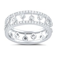 Sterling Silver Cz Statement Eternity Ring - Size 8