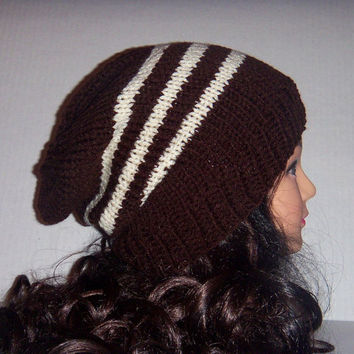 Men's Knit Hats Chocolate brown and cream Striped, Hipster Hat, Striped brown knitted Slouchy Beanie