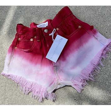Boho Cherry Red Vintage High Waisted Shorts