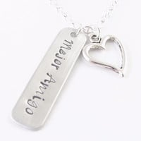 Rectangle sterling silver Hand Stamped Personalized Necklace Jewelry