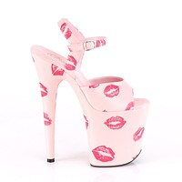"Flamingo 809Kisses Ankle Strap Baby Pink Lip Print Kiss 8"" Heels Shoe"