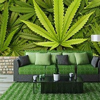 wall26 - Big Marijuana Leaf Close Up with Texture Background of Cannabis Leaves - Removable Wall Mural | Self-adhesive Large Wallpaper - 100x144 inches