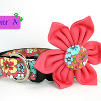 Coral Pink Floral Print Dog Collar with Flower set  (Mini,X-Small,Small,Medium ,Large or X-Large Size)- Adjustable