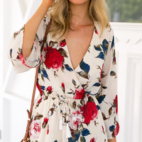 Fashion Deep V-Neck Long Sleeve Flower Print Chiffon Romper Jumpsuit Shorts