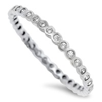 Sterling Silver Thin Bezel Stacking Ring (3 colors)