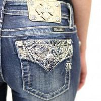 Miss Me Boyfriend Ankle Jean With Embellished Flap Pocket