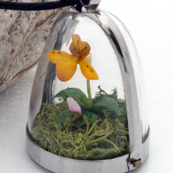 Orchid dome terrarium pendant- Wild woodland locket with realistic yellow miniature polymer clay orchid and reindeer moss