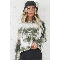 Look At Her Now Olive Tie Dye Pullover