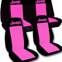 Jeep Seat Covers front & rear bench. Black with hot pink. Can choose from many different colors.