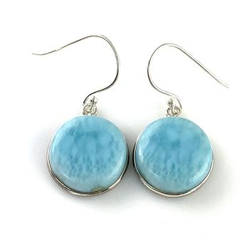 Larimar Sterling Silver Round Earrings