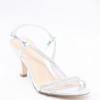 Wedding Sandals Silver Rhinestone - Patty (Style 400-8)