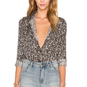 ROLLA'S Night Floral Button Up in Black Floral