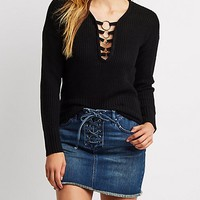 O-Ring Detail Knit Sweater | Charlotte Russe