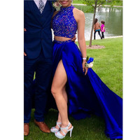 Two Piece Royal Blue Long Prom Dresses 2016 with Rhinestones High Slit High Chiffon Beading Graduation Evening Gowns EF44