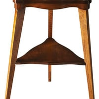 Kent Transitional Triangular Tiered Side Table Medium Brown