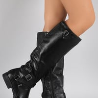 Bamboo Buckled Riding Knee High Boots