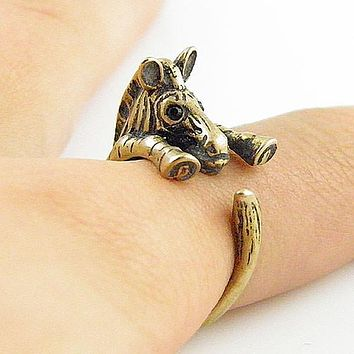 Animal Wrap Ring - Zebra - Yellow Bronze - Adjustable Ring - keja jewelry