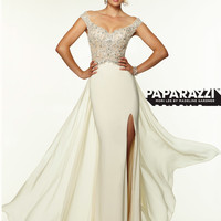Off The Shoulder Beaded With High Slit Paparazzi Prom Dress By Mori Lee 97102