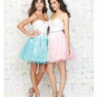 Aqua & White Strapless Lace Cocktail Dress