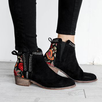 Hurry Back Black Bootie With Embroidery Detail