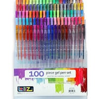 LolliZ Gel Pens - 100 Unique Colors Gel Pen Tray Set