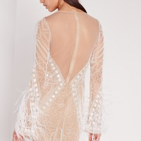 Missguided - Premium Feather Sleeve Beaded Bodycon Dress White