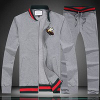 GUCCI autumn striped long-sleeved lapel zipper embroidery bee men's sports two-piece Grey