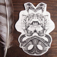 Temporary Tattoo Hissing Cat and Snake Mirrored by BurrowingHome