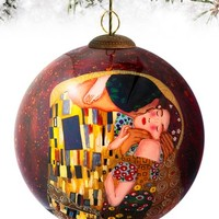 """""""The Kiss"""" Hand-Painted Glass Ornament 