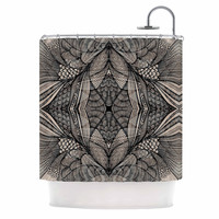 "Gill Eggleston ""Fantazia Black"" Gray Beige Shower Curtain"