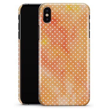 The Orange Watercolor Grunge Surface with Polka Dots - iPhone X Clipit Case