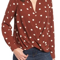 Patterned Drape Front Blouse | Nordstrom
