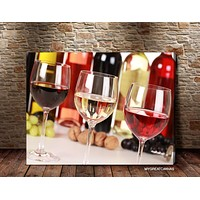 Extra Large Wall Art Canvas Print Wine Glasses Giclee Art Print Wineglass Art Canvas Print