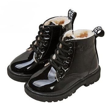 fashion Infant children martin boots girls boys winter shoes kids rain boots PU Leather Kids Sneakers