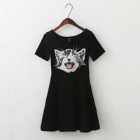 Black Cat Print Short-Sleeve A-Line Dress