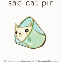 SALE: Sad Cat Pin - Cone of Shame Pin - Cat Enamel Pin - Enamel Cat Pin by boygirlparty